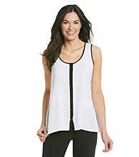 Spense® Contrast Trim Button Down Tank