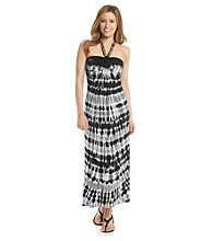 Fever™ Beaded Neck Tie-Dye Halter Maxi