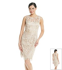 Adrianna Papell Sleeveless Illusion Lace Dress