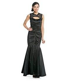 Xscape Lace Top Mermaid Skirt Taffeta Dress