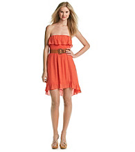A. Byer Juniors' Strapless Cinch Waist Gauze Dress