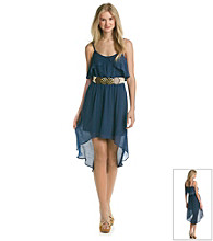 A. Byer Juniors' Spaghetti Strap High-Low Gauze Dress