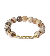 L&J Accessories Natural Brown Fire Agate Stretch Bracelet