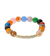L&J Accessories Multi Color Fire Agate Stretch Bracelet