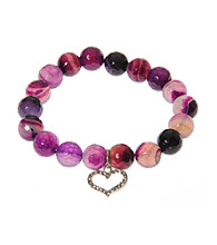 L&J Accessories Purple Fire Agate Bead Heart Stretch Bracelet