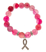 L&J Accessories Pink Fire Agate Breast Cancer Stretch Bracelet
