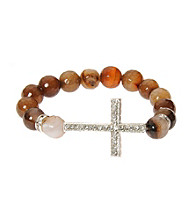 L&J Accessories Brown Fire Agate Bead Cross Stretch Bracelet