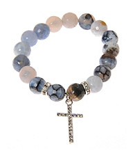 L&J Accessories Jet and White Fire Agate Bead Cross Stretch Bracelet