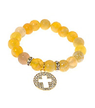 L&J Accessories Yellow Fire Agate Bead With Cross Charm Bracelet
