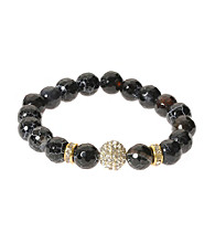 L&J Accessories Jet Fire Agate Bead Stretch Bracelet with Pave Fireball Bracelet