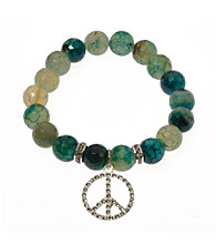 L&J Accessories Green Fire Agate Bead Peace Sign Stretch Bracelet