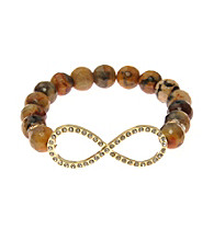 L&J Accessories Natural Brown Fire Agate Bead Infinity Stretch Bracelet