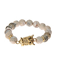 L&J Accessories Natural Cream Fire Agate Stretch Bracelet