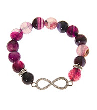 L&J Accessories Purple Fire Agate Bead Infinity Stretch Bracelet
