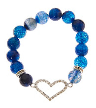 L&J Accessories Blue Fire Agate Bead Heart Stretch Bracelet