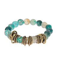 L&J Accessories Green Fire Agate Spacer Stretch Bracelet