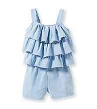 Calvin Klein Girls' 2T-6X Chambray Tiered Ruffle Romper