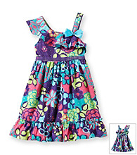 Sweet Heart Rose® Girls' 2T-6X Multi Turquoise One-Shoulder Hologram Floral Dress
