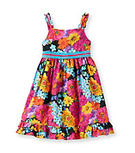 Sweet Heart Rose® Girls' 2T-6X Black/Yellow Floral Woven Dress