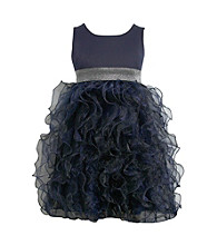 Bonnie Jean® Girls' 7-16 Navy Organza Ruffle Dress