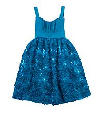 Rare Editions® Girls' 7-16 Blue Flower Soutache Dress