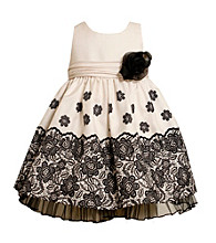 Bonnie Jean® Girls' 2T-4T Ivory/Black Shantung Dress