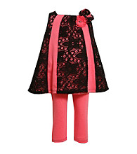 Bonnie Jean® Girls' 2T-4T Black/Pink Lace Leggings Set