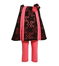 Bonnie Jean® Girls' 4-6X Pink/Black Lace Leggings Set