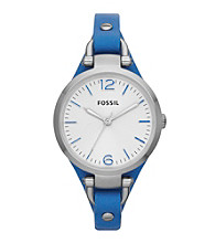 Fossil® Women's Georgia Watch in Stainless Steel with Blue Leather Strap