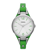 Fossil® Women's Georgia Watch in Stainless Steel with Green Leather Strap