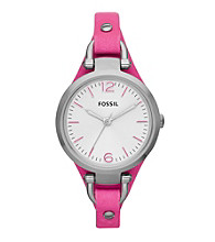 Fossil® Women's Georgia Watch in Stainless Steel with Pink Leather Strap