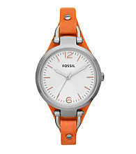 Fossil® Women's Georgia Watch in Stainless Steel with Orange Leather Strap