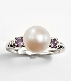Sterling Silver,Freshwater Pearl and Amethyst Ring