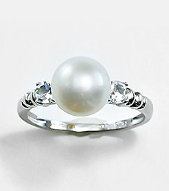 Sterling Silver,Freshwater Pearl and White Topaz  Ring