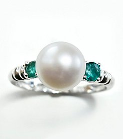 Sterling Silver,Freshwater Pearl and Emerald Ring