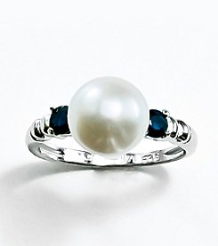 Sterling Silver, Freshwater Pearl and Sapphire Ring