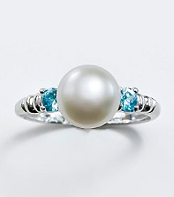 Sterling Silver,Freshwater Pearl and Blue Zircon Ring