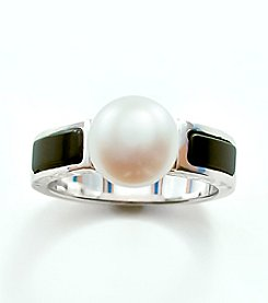 Sterling Silver,Freshwater Pearl and Onyx Ring