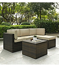 Crosley Furniture Palm Harbor 5-pc. Brown Outdoor Wicker Seating Set