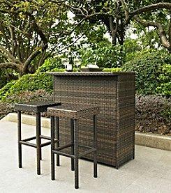Crosley Furniture Brown Palm Harbor 3-pc. Outdoor Wicker Bar Set
