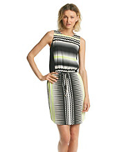 Vince Camuto® Tie Waist Echo Wave Print Dress