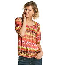 Notations® Smocked Neckline All Over Print Shirt