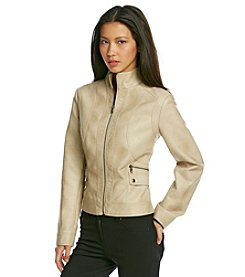 Gallery® Faux Leather Scuba Jacket