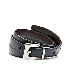 Calvin Klein Black/Brown Engraved Logo Reversible Belt