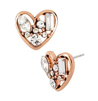 Betsey Johnson® Crystal Heart Stud Earrings