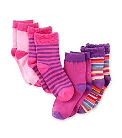 Little Miss Attitude Girls' Assorted 4-pack Striped Crew Socks
