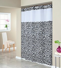 Hookless® Zebra Print Mystery Shower Curtain and PEVA Liner