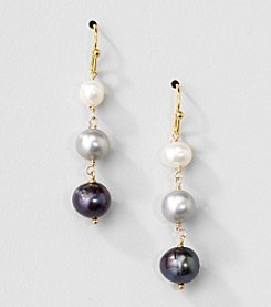 Gold Over Silver Genuine Multicolor Freshwater Pearl Drop Earrings