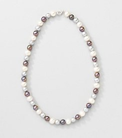 Sterling Silver Multi Colored Genuine Freshwater Pearl Necklace