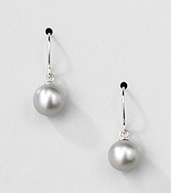 Sterling Silver Genuine Silver Grey Freshwater Pearl Drop Earrings